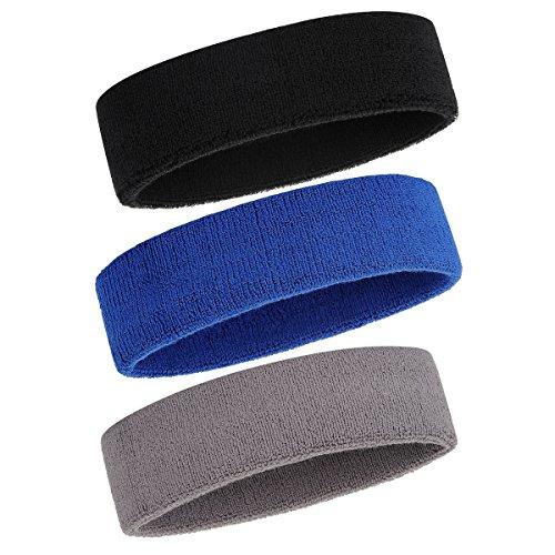 ONUPGO Schweißband Stirnband für Männer & Frauen - 3PCS Sports Stirnbänder Feuchtigkeitstransport Athletic Cotton Terry Cloth Schweißband Schweißabsorbierende Kopfband (Black/Grey/Blue)