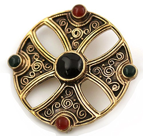 Bronze Green N Red Agate, Black Onyx Pins and Brooches Norse Irish Celtic Knot Vintage Thailand Jewelry (Brooch V.2)