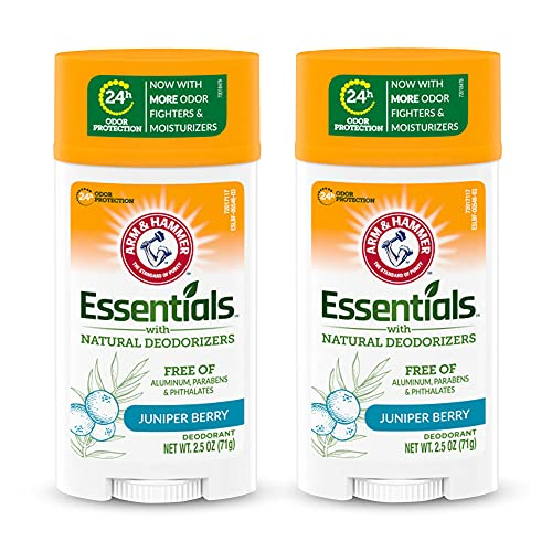 ARM & HAMMER Essentials Deodorant- Clean Juniper Berry- Wide Stick- Made with Natural Deodorizers- Free From Aluminum, Parabens & Phthalates, 2.5 oz (Pack of 2)