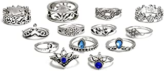 NNIOV 13Pc Fashion Boho Knuckle Rings Set for Women Girls Men, Vintage Retro Crystal Bohemian Midi Rings, Joint Nail Band Cuff Toe Statement Finger Rings, Crown Horse Flower (13 Pcs a Set)