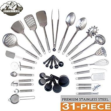 Stellar Cuisine Stainless Steel 31 Piece Utensil Set, Premium Kitchen Utensils Tool and Gadget Set