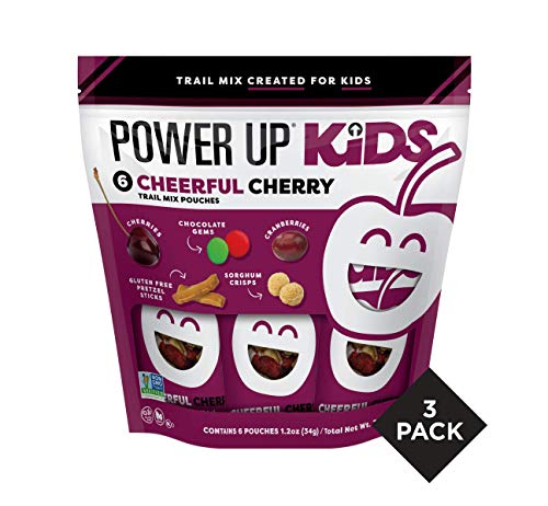 Power Up Kids Trail Mix, Cheerful Cherry, Gluten-Free, Non-GMO, No Artificial Colors or Flavors, No-Nut, School-Safe Snack, 1.2oz (Pack of 18 Individual Servings)