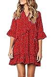 MITILLY Women's V Neck Ruffle Polka Dot Pocket Loose Swing Casual Short T-Shirt Dress Medium T-Red