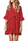 MITILLY Womens V Neck Ruffle Polka Dot Pocket Loose Swing Casual Short T-Shirt Dress Small T-Red