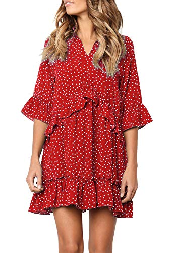 MITILLY Women's V Neck Ruffle Polka Dot Pocket Loose Swing Casual Short T-Shirt Dress X-Large T-Red