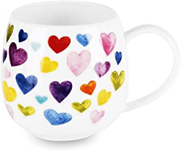 Heart Shaped Mugs for Coffee Cute Ceramic Coffee Mug Heart Shaped Mug Colorful Bone China Coffee Cup Heart Gift for Women Mom Coworker Boss Friends (13oz)