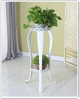 ヨーロッパのフラワーフレーム錬鉄マルチレイヤインドアグリーンの花のリビングルームのフロアバルコニーオーキッドホームフロア31cmX82cmハンギングスタンド(カラー:ブラウン) (Color : White)