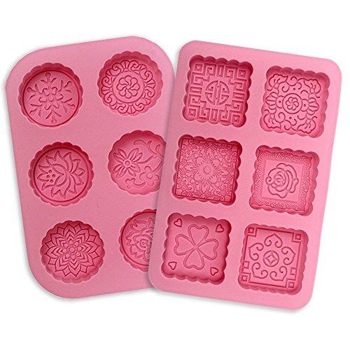 Amison 2 stampi in silicone per sapone, 6 stampi per cuocere nel forno