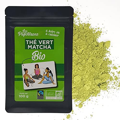 LES PAPOTEUSES | Té Verde Matcha en polvo organico | Lote de 3 saquitos de 100g | Té matcha culinario y para infusiones | Certificación ecológica y comercio justo