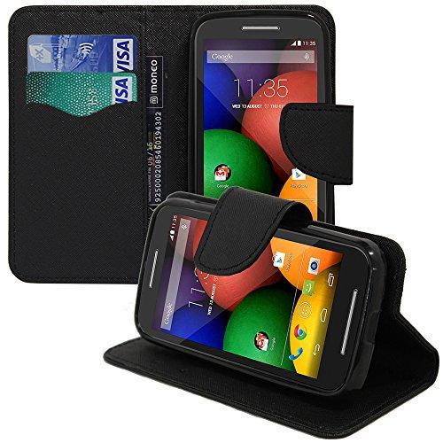 VComp-Shop® Kunststoff Handy Brieftasche mit Kartenfächer und Video-Standfunktion für Motorola Moto E XT1021 - SCHWARZ