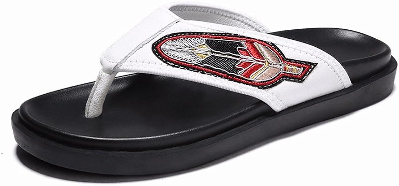 JIANXIN Hausschuhe Hausschuhe Herren Sommerkleidung Herren Ledersandalen Stickerei Rutschfeste Flip-Flops (Farbe   Weiß, Größe   EU 43 US 13 UK 11)  hier hat das neuste