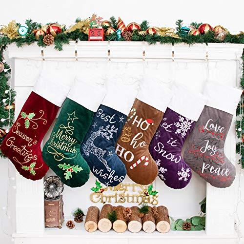 Beyond Your Thoughts Weihnachtsstrumpf Nikolausstrumpf Deko Kamin Nikolausstiefel zum befüllen und aufhängen groß Ideale Weihnachtsdekoration Christmas Stockings Xmas Weihnachtsmann Rot