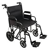 Probasic - Heavy Duty 22 inch Transport Wheelchair, 450 lb capacity