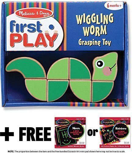 Melissa & Doug Wiggling Worm Grasping Toy: First Play Series & 1 Scratch Art Mini-Pad Bundle (03031)