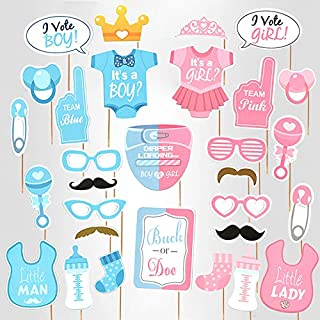 Baby Photo Booth Props Gender Reveal Party Boy or Girl Shower Birthday Party