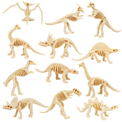LIKYUU Dinosaur Fossil Skeleton (12 Pieces) Assorted Dino Bones Skeleton Toy Figures for Science Play Rewards, Dino Sand Dig ,Decorations, Party Favor for Kids