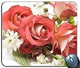 Mauspad mit rutschfester Gummibasis Wasserdichtes Standard-Gaming-Mauspad mit genähten Kanten (Rosen-Blumenmuster)