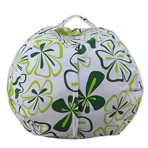 Lustig bedruckte youngshion Sitzsack KIDS Plüsch Spielzeug Canvas Stofftier Aufbewahrung Kleidung Quilts Organizer Soft Pouch Cover NEU Design, canvas, Green Clover, 61 cm