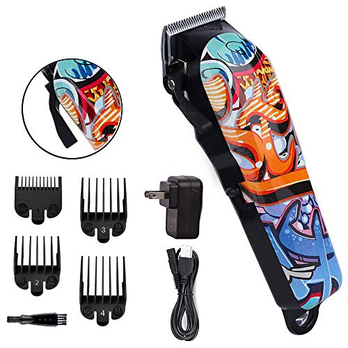 Professional Rechargeble Fast Feed Adjustable Pivot Motor Hair Clipper, Precision Cord/Cordless Fade Clipper Loaded with Features –Carbon Steel Blades (Random Graffiti Pattern)