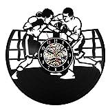 wtnhz LED Reloj de Pared de Vinilo Colorido Reloj de Pared con Disco de Vinilo de Boxeo, diseño Moderno, Deportes de Lucha, decoración 3D, Reloj de Club de Boxeo, Reloj de Pared, decoración del ho
