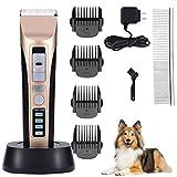 APoony Haarschneidemaschine Hunde, Hundeschermaschine Geringe Vibrationen Wiederaufladbare Tierhaarschneider Trimmer Rasierer Tierhaarschneidemaschine Haustiere für Hunde Katzen Pferde