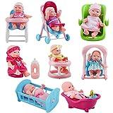 deAO Kids Collezione di Bambole Design Mini (13 cm) e Accessori Set Include 8 Bambole, Vas...