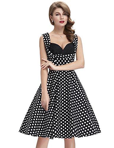 Frauen 50s Retro A-Linie Baumwolle Partykleid Mode 1950er M CL008901-11 - 5