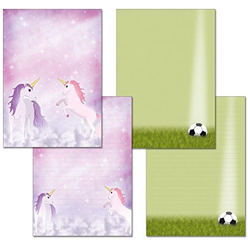 2 Stück - Schreibblöcke mit Linien - 1x magisches Einhorn + 1x Fußball je 25 Blatt Format DIN A4 mit Deckblatt 7400+7390
