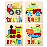 EXTSUD Giocattoli Bambini 3D Puzzle in Legno Set da 4 Pz Puzzle a Forma di Veicoli Camion ...