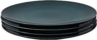 ProCook Del Mar - Vaisselle de Table en Porcelaine - 4 Pièces - Assiette Plate - 25cm - Glaçure Réactive - Bleu
