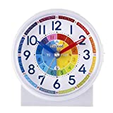 Tinload Analog Alarm Clock for Kids, Telling Time Teaching Design, Silent Non Ticking,Gentle Wake, Increasing Beep Sounds, Battery Operated Snooze and Light Functions (White-D)
