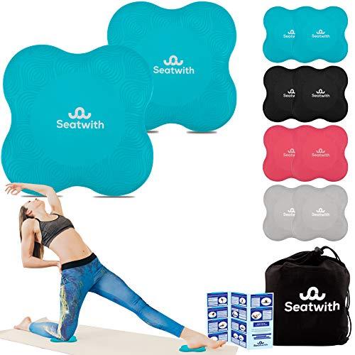 Rodillera para Yoga, 2 Cojines de Rodilla con Bolsa de Transporte + Instrucciones de Entrenamiento PDF Máximo Alivio y Soporte en Rodillas, Muñecas y Codos, Rodilleras 20x20cm, Pilates, Fitness