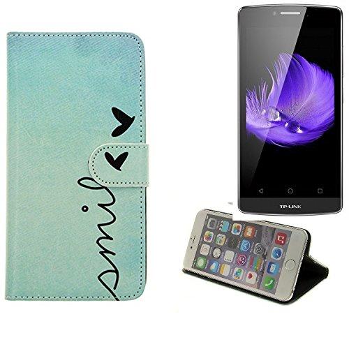 K-S-Trade® Schutzhülle Für TP-LINK Neffos C5L Hülle Wallet Case Flip Cover Tasche Bookstyle Etui Handyhülle ''Smile'' Türkis Standfunktion Kameraschutz (1Stk)