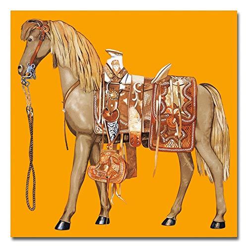 Diverse kleuren paard canvas schilderij dier poster schilderijen muurkunst print op canvas voor woonkamer Home Decor 50x50cm
