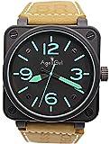 WAVFCSE Neue Luxusmarke für Männer Braun Leder Edelstahl Carbon Glocke Uhr Pvd Br Automatische...