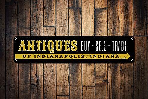 Fhdang Decor Antiquités Acheter Vendre Commerce des Signes, personnalisé Panneau de Store, Custom Shop Emplacement City State Plaque en métal, décoration de Maison, Plaque en métal, 10,2 x 45,7 cm
