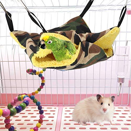 Zouminyy Haustier hängendes Bett, Doppeldeck Hängematte Haustier hängendes Bett Hamster hängendes Bett Kleine Hamster Hängematte Haustier hängendes Käfig(20 * 20cm, Camouflage)