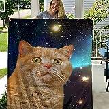 store51 TENAIKI Space Cat Cute Funny Throw Blanket Ultra Soft Fleece Blanket Flannel Light Weight All Season Living Room/Bedroom Blanket,Color,60x50 Inch