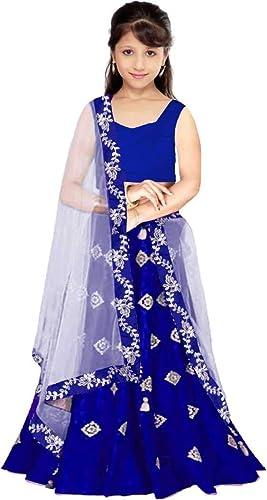 Girl s Faux Silk Semi stitched Lehenga Choli K S Royal Blue Royal Blue 4 5 Years