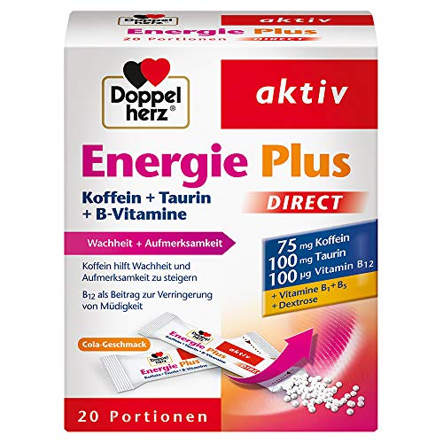 Doppelherz Energie Plus Koffein + Taurin + B-Vitamine DIRECT – Mit Vitamin B1, B5 (Pantothensäure) und B12 als Beitrag zum Energiestoffwechsel – 20 Portionsbeutel