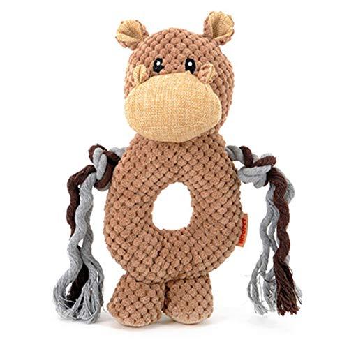 Greatangle Chien de Compagnie Voix Petit Jouet Chiens Chats Jouet Singe/éléphant/Hippopotame Anneau Jouets pour Animaux de Compagnie Jouets éducatifs interactifs pour Animaux de Compagnie Kaki