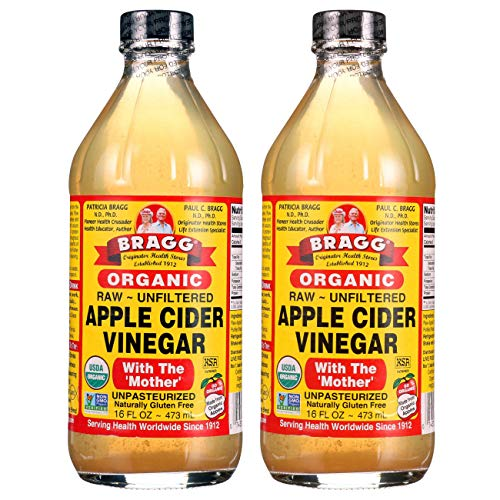 Bragg Organic Raw Unfiltered Apple Cider Vinegar with The Mother, 16 ounce, 2-Pack