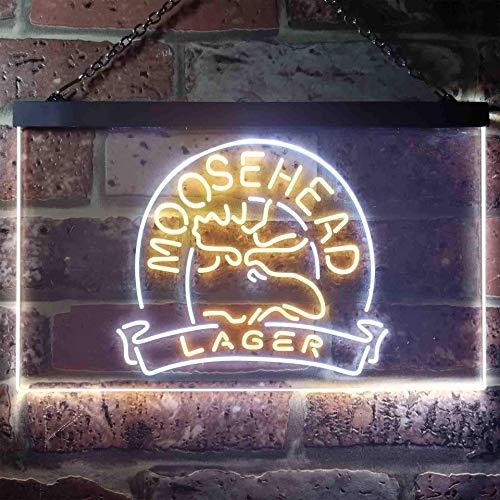 zusme Moosehead Lager Beer Neuheit LED Neon Schild White + Yellow W60cm x H40cm