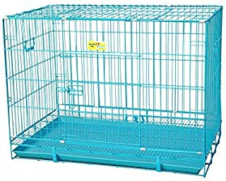 PSK PET MART Dog Cage Blue Poweder Coated 36 Inch Iron Cage with Removable Tray for Dog(Large)