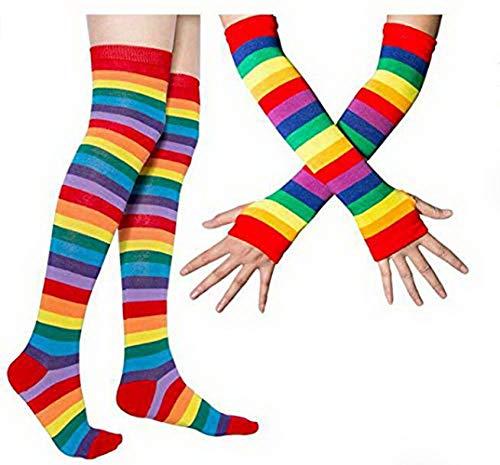 thematys Damen Kniestrümpfe Strümpfe für Arme und Beine im Regenbogen Design - Socken und Handschuhe Retro für Mädchen und Damen