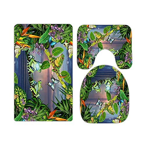 Palm Leaves Jungle and Flowers Tropical Tree Frog Bathroom Rugs and Mats Sets 3 Piece, Memory Foam Bath Mat, U-Shaped Contour Shower Mat Non Slip Absorbent, Velvet Toilet Lid Cover Washable