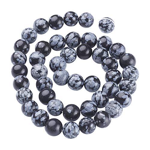 OLYCRAFT Fiocco di Neve Ossidiana Perline 8mm Perline di Pietra Naturale Fili Sciolti Semi di Pietre Preziose Perline Rotonde per Bracciale Collana Orecchino Creazione di Gioielli