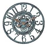 Taodyans Reloj de pared para exteriores 30cm resistente al agua funciona con pilas reloj de retro para el hogar cocina,sala de estar, decoración, relojes – no silencioso (turquesa)