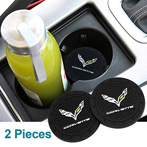 Coolsport Fit Corvette Cup Holder Insert Cup Coaster 2.75 Inch Cup Pad Tough Car Logo Accessories 2PCS Pack