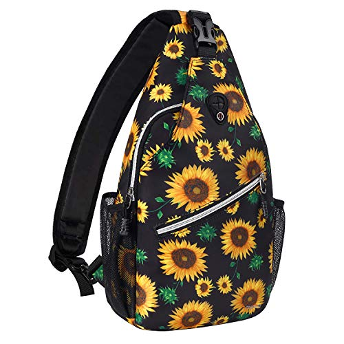 MOSISO Sling Backpack,Travel Hiking Daypack Sunflower Rope Crossbody Shoulder Bag, Black